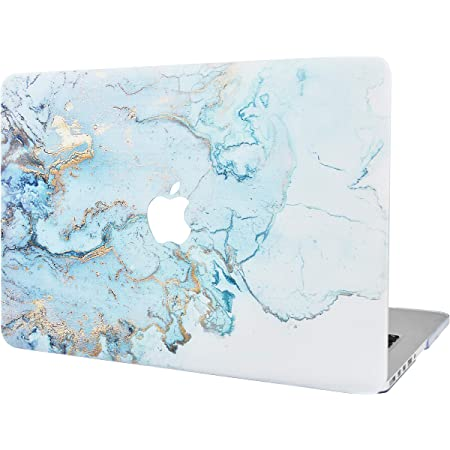 """KECC Laptop Case Compatible with Old MacBook Pro 13"""" Retina (-2015) Plastic Hard Shell Cover A1502 / A1425 (Blue Gold Marble)"""