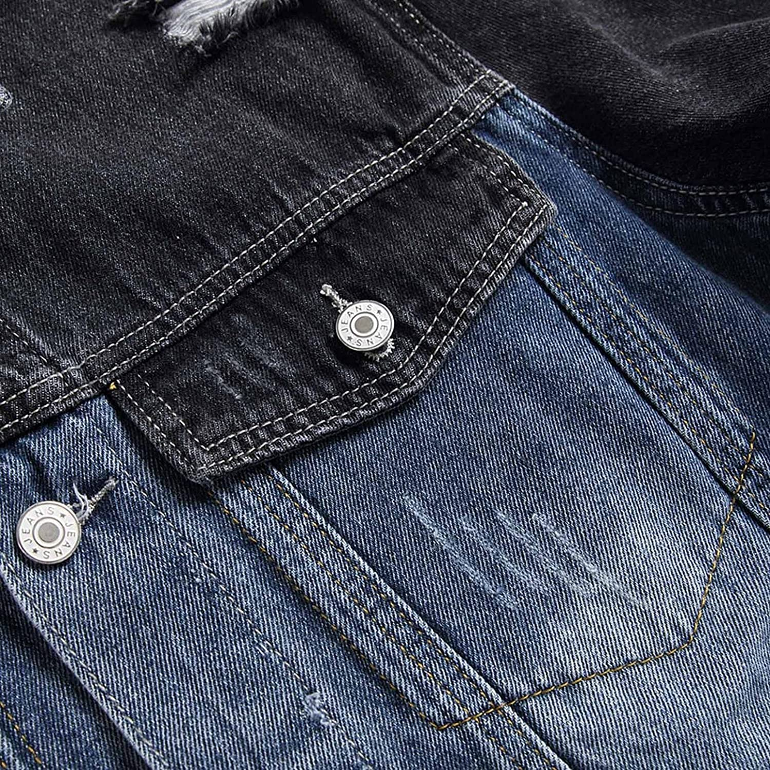 Denim Jacket for Men Classic Ripped Slim Long Sleeve Matching Hole Collar Pocket Jeans Coat Top Blouse