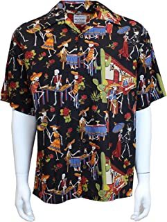 David Carey Day of The Dead Camp Shirt – Black – Button Up Collared Short Sleeve Mechanic Camp/Club Shirt
