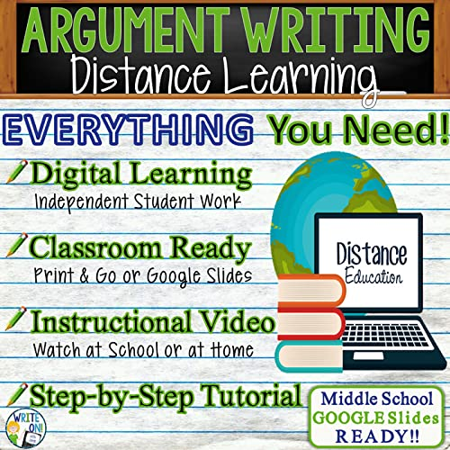 Argumentative Writing Essay - Distance Learning, Independent Student Instruction, In Class Lesson, Instructional Video, PPT, Worksheets, Rubric, Graphic Organizer, & Google Slides - Distance Learning