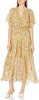 ASTR the label Women's Short Flutter Sleeve SOPHRONIA Illusion Maxi Blouson Dress