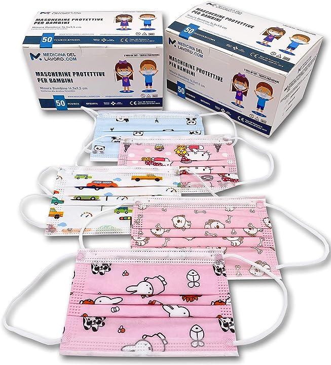 mascherine chirurgiche bambini fantasia bambina certificate ce alta efficienza di filtraggio bfe?98 50pezzi 7427245078398