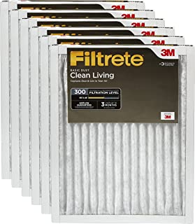 Filtrete Clean Living Basic Dust Filter, MPR 300, 20 x 25 x 1-Inches, 6-Pack