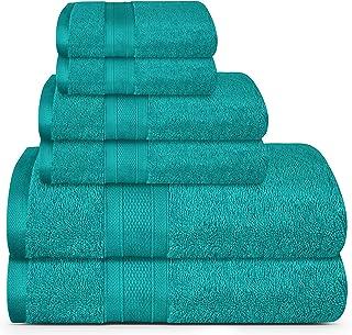 حوله های پنبه ای TRIDENT 100٪ ، ست 6 تکه - 2 حوله حمام ، 2 دستشویی ، 2 حوله صورت ، فوق العاده نرم و بسیار جاذب ، حوله حمام نرم و مخمل خواب دار ، 14 پوند در روز / dzn (Teal)
