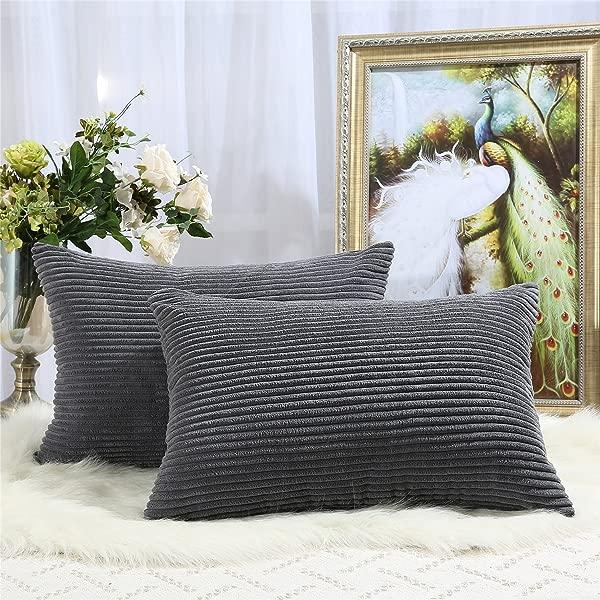 Miaote 灯芯绒枕巾月个月英寸包月抱枕套的沙发沙发床装饰超柔软的枕头案件 Darkgrey