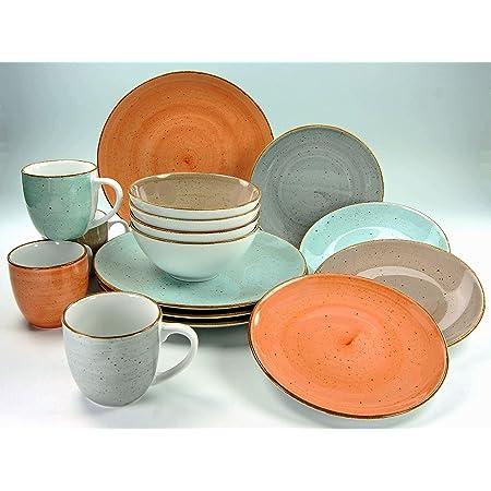 Creatable 17690 Table Série Complet, Set de 16, Porcelaine, Multicolore, 39 x 23,5 x 31,5 cm