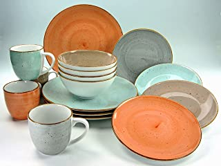 Creatable 17690 Table Série Complet, Set de 16, Porcelaine, Multicolore, 39 x 23,5 x 31,5 cm