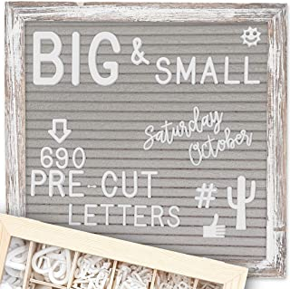 Letter Board 10×10 Rustic Gray | +690 PRE-Cut Letters +Stand +Upgraded..
