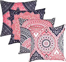 TreeWool Square Throw Pillowcases Mandala Accent Pure Cotton Decorative Cushion Cases Pillow Covers (18 x 18 Inches / 45 x 45 cm; Navy & Fuschia in Cream Background) - Set of 4