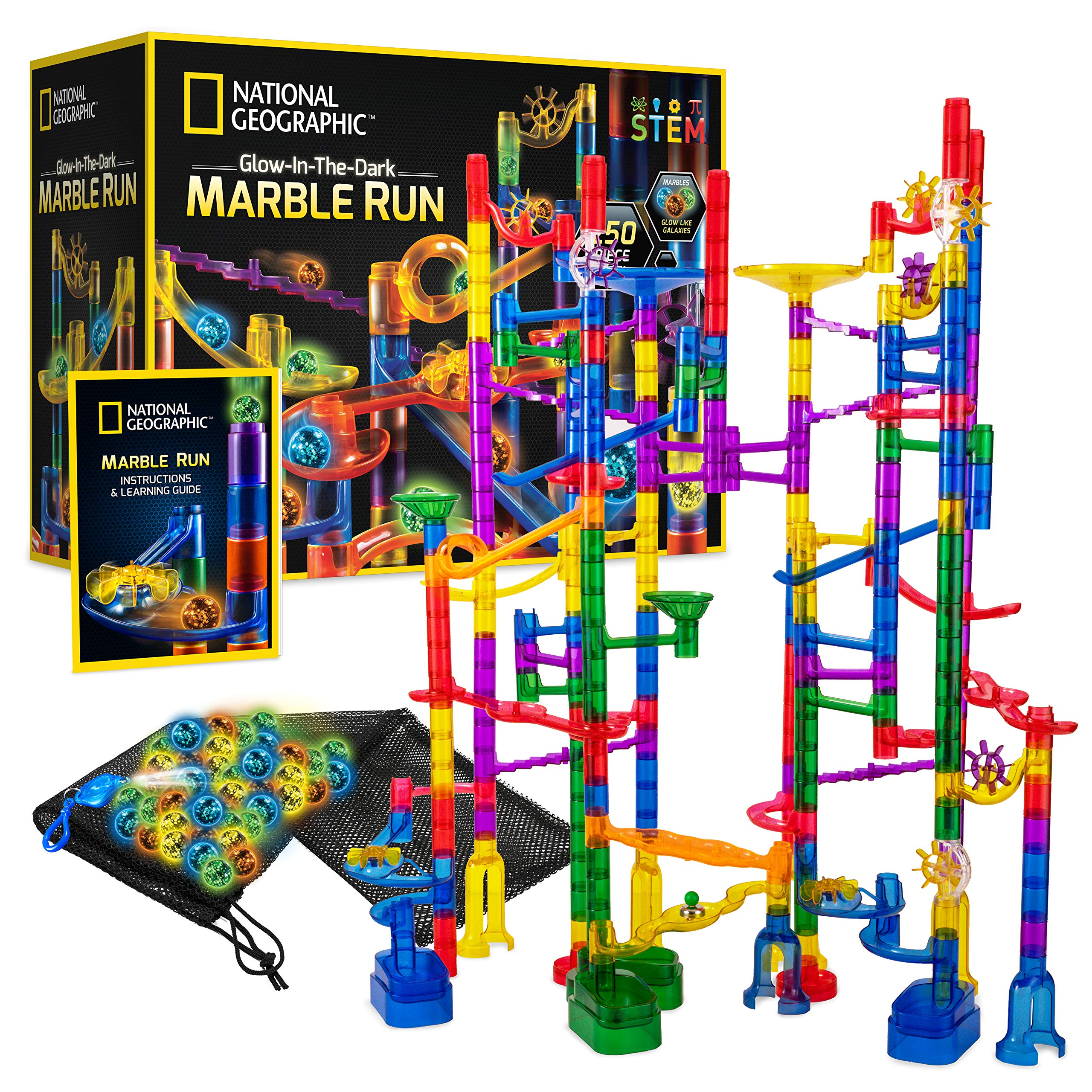 National Geographic Glowing Marble Run – 250 Piece Construction Set with 30 Glow-in-the-Dark Glass Marbles, Mesh Storage Bag, Great Creative STEM Toy for Girls and Boys