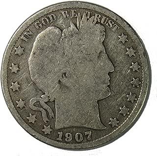 1907 S Silver Barber Half Dollar 50c Very Good