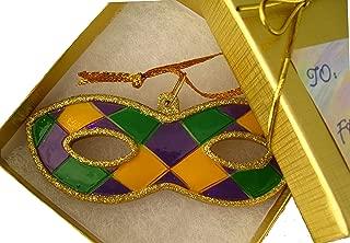 Mardi Gras Mask Ornament w/ GIFT BOX New Orleans Theme Party Favor Decor Decoration Travel Christmas Supplies Hostess Christmas Carnival Souvenir French Quarter NOLA ball shower exchange shower AO