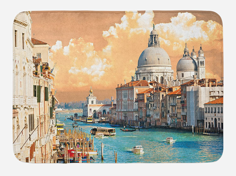 Ambesonne European Bath Mat, Grand Canal in Venice Italy Historic European  Cityscape Town Tower Boho Print, Plush Bathroom Decor Mat with Non Slip ...