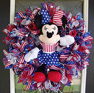 XL Minnie Mouse 4th Fourth of July Patriotic Deco Mesh Front Door Wreath, Disney Home Decor, Porch Patio Decoration, Memorial Veterans Day, Summer