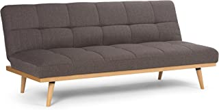 Simpli Home AXCSOF-02-SBR Spencer Contemporary 72 inch Wide Sofa Bed in Dark Chocolate Brown Linen Look Fabric