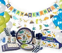 Whoobli Dinosaur Party Supplies (Serves 16), All-in-One Complete Dinosaur Birthday Party Supplies with Birthday Plates, Ut...