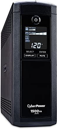 $144 » CyberPower  CP1500AVRLCD Intelligent LCD UPS System, 1500VA/900W, 12 Outlets, AVR, Mini-Tower