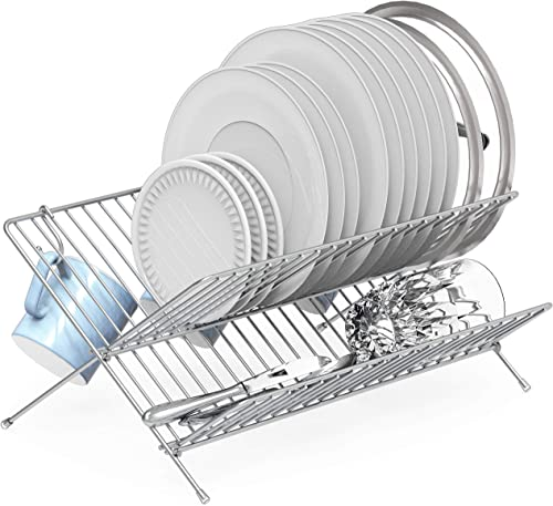 discount Simple online Houseware Collapsible Dish Drying outlet online sale Rack, Chrome sale