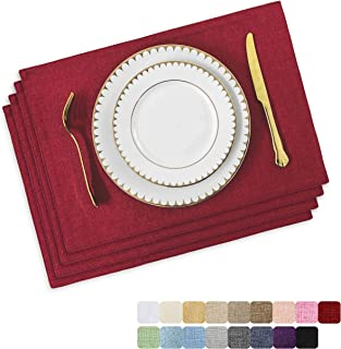 HOME BRILLIANT Set of 4 Placemats Heat Resistant Dining Table Place Mats Kitchen Table Mats, Burgundy