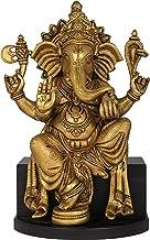Bhagawan Ganesha Seated on Wooden Chowki - Brass and Wood Statue