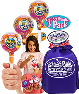 Pikmi Pops Surprise! Small Lollipop (Sweet Scented Plush) Style Series Gift Set Bundle with Bonus Matty's Toy Stop Storage Bag - 3 Pack
