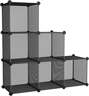 SONGMICS 6-Cube Metal Mesh Storage Cube, Storage Shelves Organizer, Modular Bookcase, DIY Closet Cabinet Shelf for Books, Plant, Toys, Shoes, Clothes, 36.6 L x 12.2 W x 36.6 H Inches, Black ULPL111H