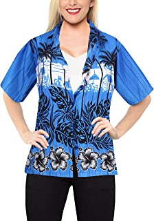 LA LEELA Women's Tropical Hawaiian Blouse Shirt Button Down Shirt Dress Printed
