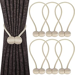 Topspeeder 6 Pack Magnetic Curtain Tiebacks,The Most Convenient Woven Texture Drape Tie Backs,Decorative Weave Rope Holdback Holder for Window Sheer Blackout Drapries Office,16 Inch(Beige)
