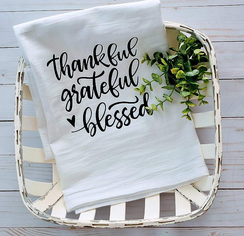 Thankful Grateful Blessed Dishcloth Tea Towel Premium Flour Sack Tea Towel