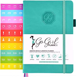 GoGirl Planner and Organizer for Women - Compact Size Weekly Planner, Goals Journal & Agenda to Improve Time Management, Productivity & Live Happier. Undated - Start Anytime, Lasts 1 Year - Turquoise