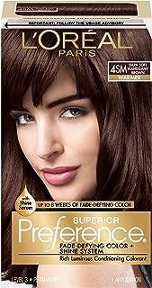 L'OrÃal Paris Superior Preference Fade-Defying + Shine Permanent Hair Color, 4SM Dark Soft Mahogany Brown, 1 kit Hair Dye , 1 Count