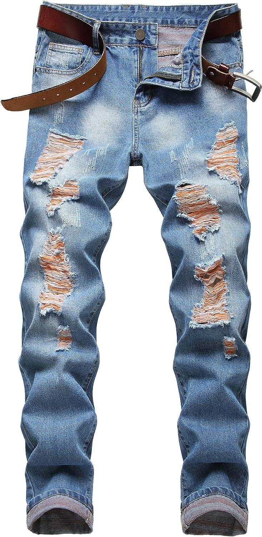 COOSVEN Men Some reservation Ripped Jeans Slim Fit Leg Denim Mail order Pants wit Straight
