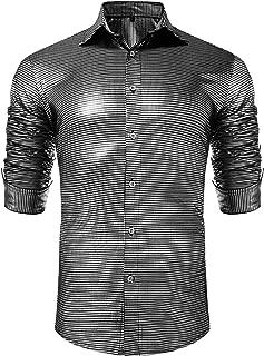 Men's Metallic Shiny Nightclub Elastic Slim Fit Long Sleeve Button Down Sequins Shirt for 70s Disco Party S-XXL