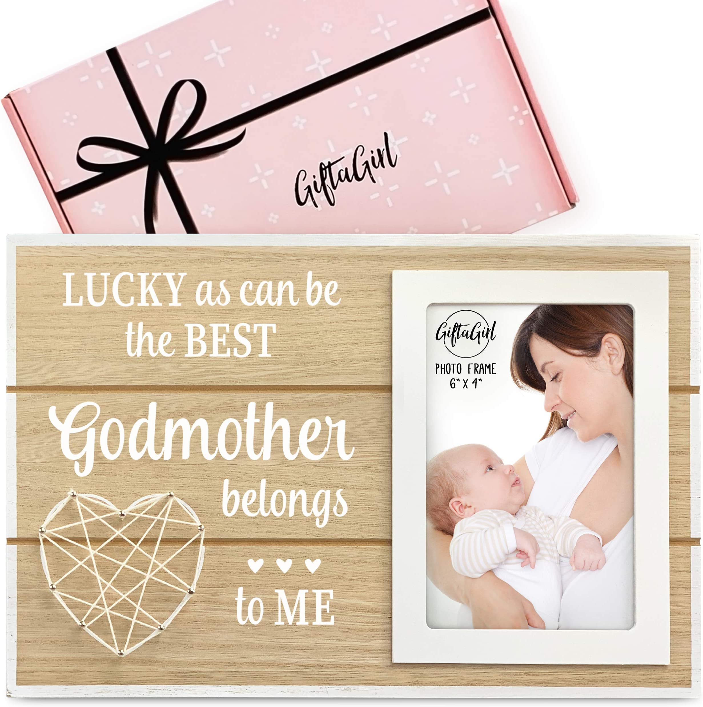 Godmother Present Godchild Baptism Godmother Picture Frame Gift Godson Dedication Christening Goddaughter Lucky To Call You My