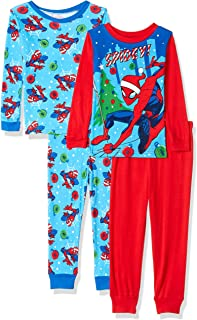 Marvel Boys' Spiderman Holiday 4-Piece Cotton Pajama Set