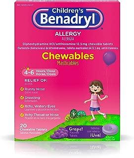 Benadryl Children's Allergy Grape Chewables, 20 Count Per Box (5 Pack)
