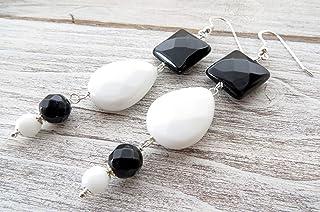Orecchini con agata bianca e onice nero, pendenti in argento 925, gioielli contemporanei, bijoux fatti a mano, regalo per lei