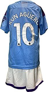 Chivalion Manchester City Aguero Jersey Soccer Jersey and Shorts for Kids - Home 2019-20 for Kids