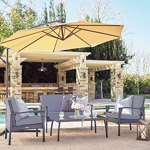 2021 BELLEZE discount 4PC Outdoor Patio Wicker Set Lounge Backyard Weather Resistant UV Thick Cushion Chair discount Glass Coffee Table, Gray online sale