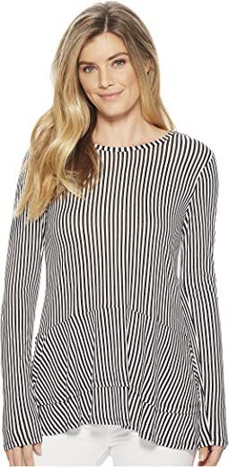 MICHAEL Michael Kors Petite Stripe Double Hem Top