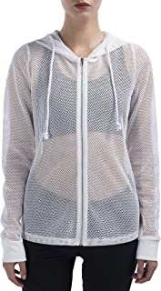 Mesh Jacket Women Fishnet Cover-up Relaxed Fit Long Sleeve Zipped Full Hooded Jacket