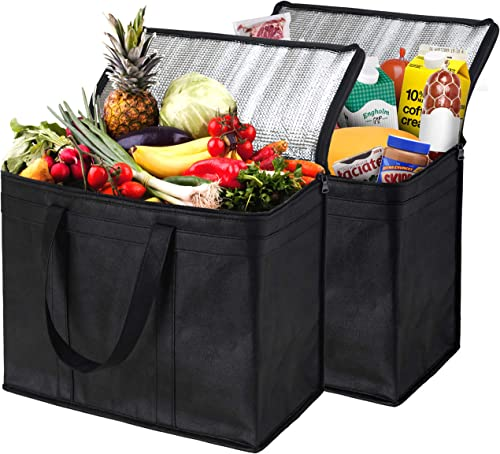 NZ Home 2 Pack Insulated Reusable Grocery Bags, Extra Large, Foldable, Stands Upright, Sturdy Zipper product image