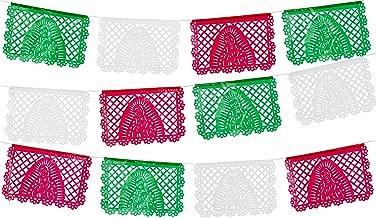 Amor a la Mexicana 2pk Medium Plastic White Papel Picado Banner Each Banner has 12 Panels 16 Feet Long Hanging