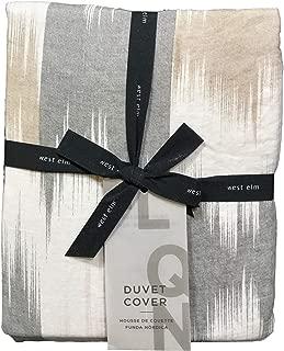 West Elm Pewter Belgian Flax Linen Blurred Ikat Full/Queen Duvet + 2 Standard Shams