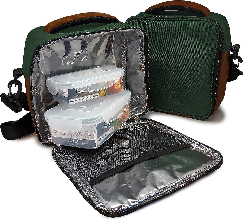 Nerthus Lunch Bag Plástico Fiambrera bolsa termica porta alimentos, Verde + 2 tupper, Tela Resistente, Con 2 Herméticos, Con 2 Tuppers