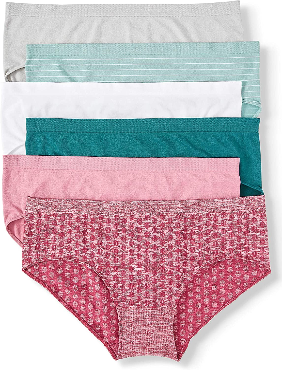 Secret Treasures Women's Plus Seamless Fashion Hipster Panties, 6 Pack Size 4X, Assorted, 14