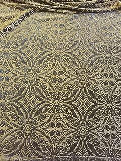 Black Lili Burnout Damask Geometric Stretch Velvet Fabric -Sold By The Yard- 60