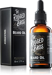 Unscented Beard Oil for Men by The Rugged Bros - Beard Softener and Conditioner - The Best Natural And Organic Ingredients for Grooming and Growth (2 oz)