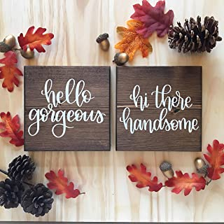 LOUISF Hello There Handsome Good Morning Gorgeous Wall Hanging Sign Set of Two Bathroom Bedroom Home Decor Man Women