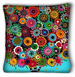 Tarolo Decorative Com Table Beautiful Patterns And Strips Mexican Style Tree Flower Floral Throw Pillow Case Cases Cover Cushion Covers Sofa Size 16x16 Inches One Side